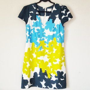 Milly color block floral cotton sateen shift dress
